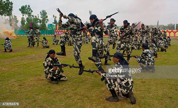Commandos of Indian Central Reserve Police Force Constables show their skills after the graduation ceremony on May 14 2015 in Humhama on the...