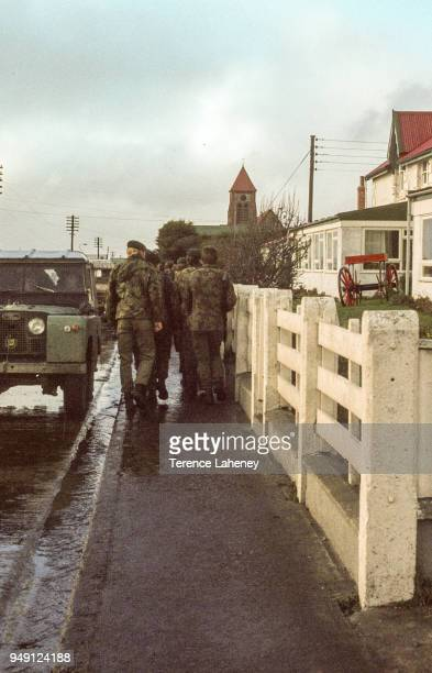 Commandos outside Stanley Hotel after the recapture of Port Stanley by British troops during the Falklands War June 1982