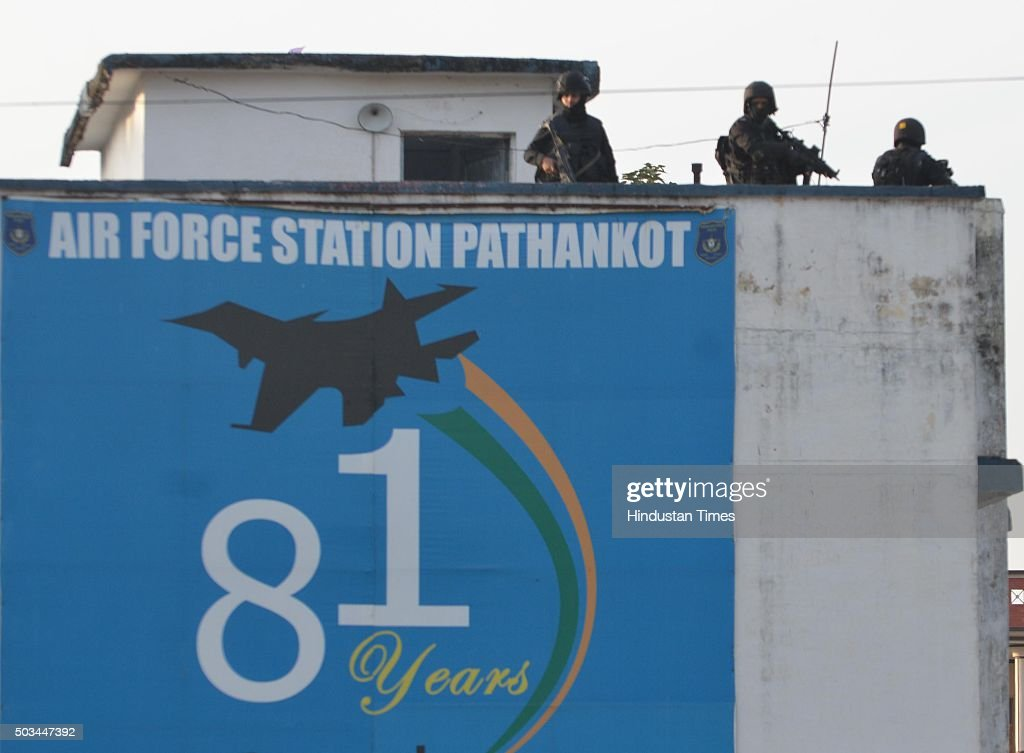 Commandos stand guard at Air Base during combing operations at Pathankot Air Base on Day 4 of terrorist attack on January 5 2016 in Pathankot India...