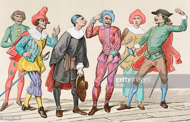 Commedia dell'arte Italian 16th century Engraving 19th century Colored