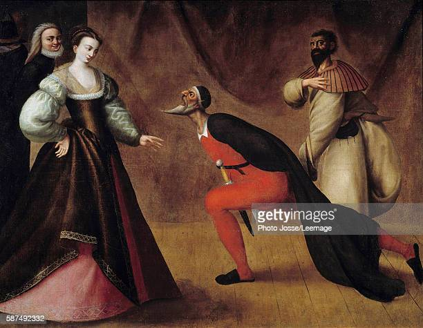 Commedia dell'arte scene from Italian comedy School of Fontainebleau's painting 16th century11 x 1m Bonnat Museum Bayonne France