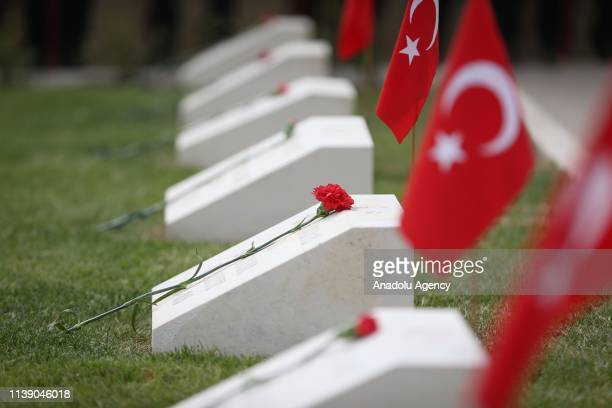 Commemoration ceremony is held at 57th Regiment Cemetery on the occasion of the 104th anniversary of Canakkale Land Battles on Gallipoli Peninsula in...