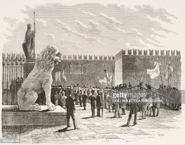 Commemoration of 22 March, 1848 at the Venetian Arsenal, Italy, engraving from L'Illustrazione Italiana, No 14, April 8, 1877.