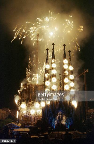 """Commemoration of the 150th birth anniversary of Catalan architect Gaudi. The French compagny """"Groupe F"""" is the organizer of this pyrotehnical and..."""
