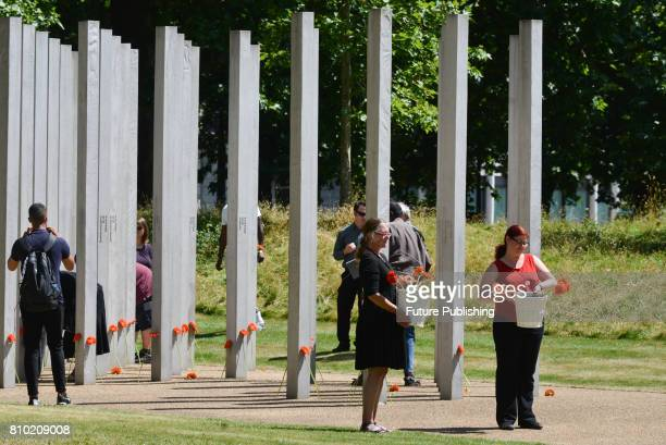 Commemoration of the 7/7 London bombings at the memorial in Hyde Park on July 07 2017 in London England Four suicide bombers brought horror to the...