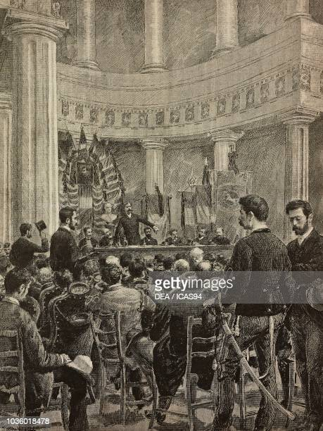 Commemoration of the explorer Giovanni Battista Licata in the hall of the African Society Naples Italy drawing by Edoardo Matania engraving from...