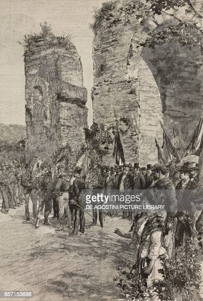 Commemoration of those who fell on 1st October at the Battle of the Volturno laying wreaths near Hadrian's arch in Santa Maria Capua Vetere Italy...