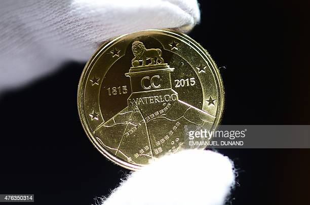 Commemorative coin to mark the 200th anniversary of The Battle of Waterloo is displayed during a ceremony held to unveil the 2.5-euro coin at the...