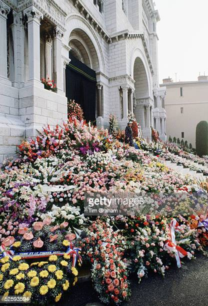 Commemorative flowers and tributes are seen during the funeral of Princess Grace wife of Prince Rainier of Monaco in front of the Cathedral September...