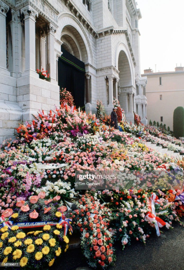 Commemorative flowers and tributes in front of the Cathedral in Monte Carlo for the funeral of Princess Grace of Monaco.
