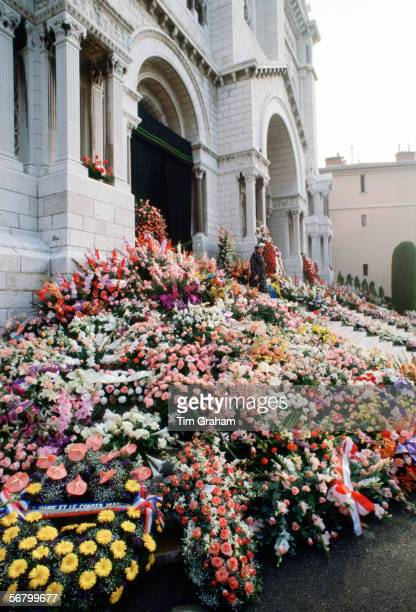 Commemorative flowers and tributes in front of the Cathedral in Monte Carlo for the funeral of Princess Grace of Monaco