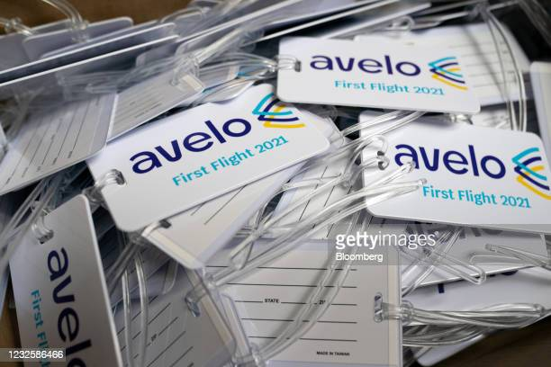 Commemorative luggage tags ahead of the Avelo Airlines inaugural flight at Hollywood Burbank Airport in Burbank, California, U.S., on Wednesday,...