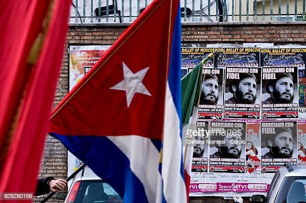 Commemorative march in memory of Fidel Castro organized by the movement Patria Socialista in San Lorenzo district on December 10 2016 in Rome Italy