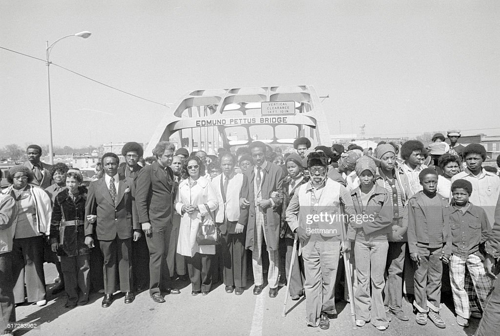 Coretta Scott King With Marching Peers Posing on Highway : News Photo