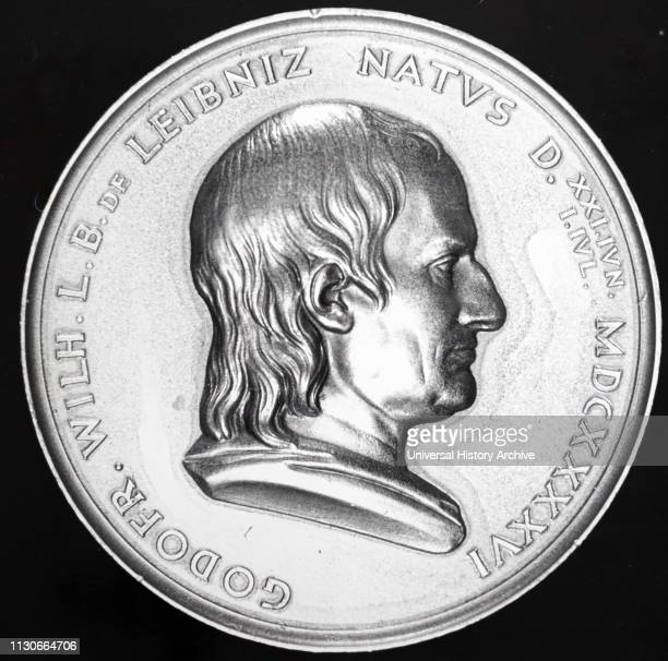 Commemorative medal depicting Gottfried Wilhelm Leibniz a German polymath and philosopher in the history of mathematics and the history of...