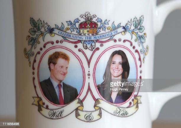 A commemorative mug celebrating the forthcoming marriage of Prince William to Kate Middleton produced by Guangdong Drinkware features a photograph of...