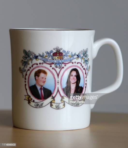 Commemorative mug celebrating the forthcoming marriage of Prince William to Kate Middleton, produced by Guangdong Drinkware, features a photograph of...