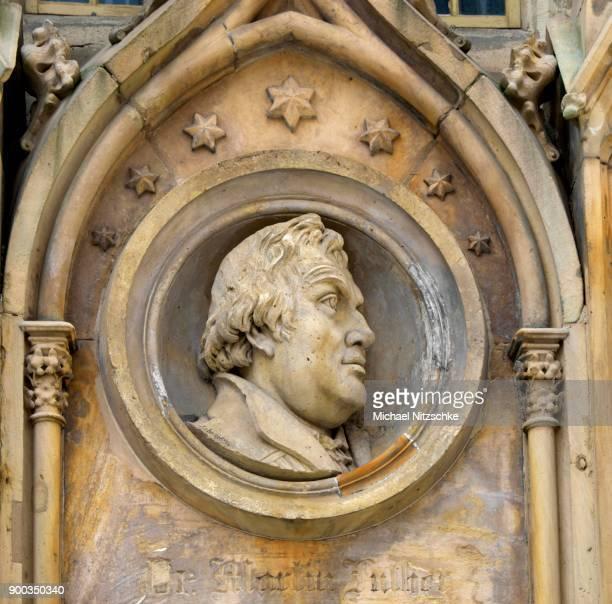 Commemorative plaque to Martin Luther, Marktkirche Unser Lieben Frauen, Halle an der Saale, Saxony-Anhalt, Germany