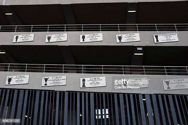 Commemorative plaques affixed to the exterior of the Stadio Giuseppe Meazza also known as the San Siro before Internationale took on Cagliari in an...