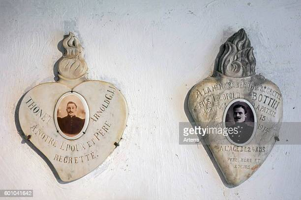 Commemorative plaques of killed soldiers in the Fort de Loncin one of twelve forts built as part of the Fortifications of Liege destroyed during...