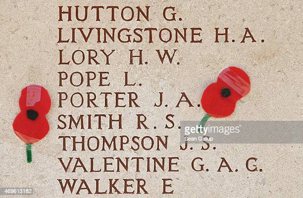 Commemorative poppies lie stuck by visitors next to names of New Zealand soldiers who served in the Gallipoli Campaign at the Chunuk Bair Memorial on...