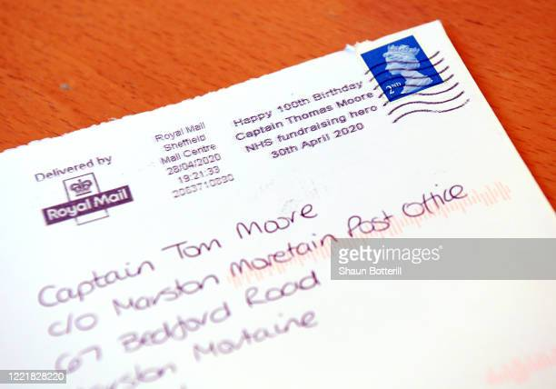 A commemorative post mark is shown on an opened envelope of one the thousands of birthday cards sent to Captain Tom Moore for his 100th birthday on...