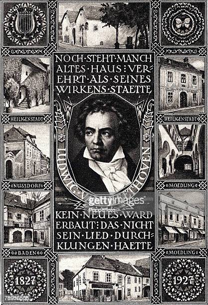 A commemorative postcard dedicated to German composer Ludwig Van Beethoven 17701827 who wrote 9 symphonies 32 piano sonatas 16 string quartets five...