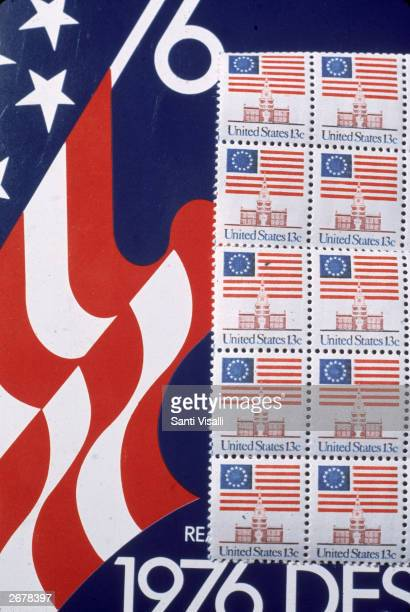 Commemorative stamps from the US Postal Service honoring the American Bicentennial 1976