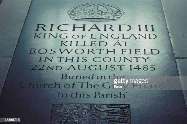 A commemorative stone laid to King Richard III in Leicester Cathedral Leicestershire England 1989