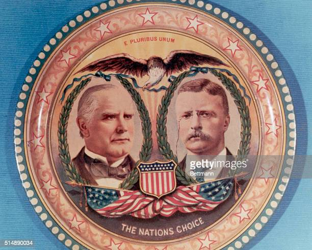 Commemorative tin from the 1900 US Presidential election which contains portraits of President William McKinley and Vice President Theodore Roosevelt