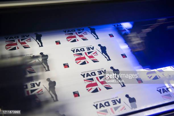 Commemorative VE Day window stickers are printed the Royal British Legion Industries BBMC factory in Aylesford south east England on May 5 ahead of...