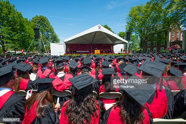 Commencement ceremonies at the Harvard Business School campus in front of Baker Library in Boston MA on May 29 2014