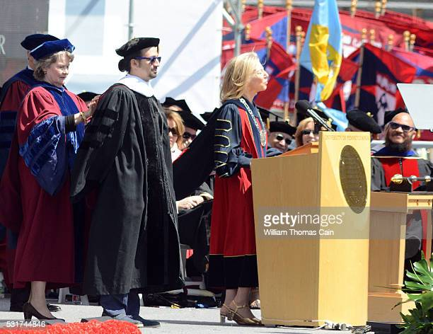 Commencement speaker Lin Manuel Miranda is bestowed an honorary degree during the University of Pennsylvania's 260th Commencement at Franklin Field...