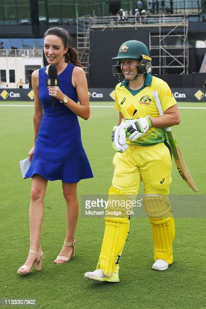 Commentator Abbey Gelmi interviews Alyssa Healy of Australia as she walks out to bat during game three of the One Day International Series between...