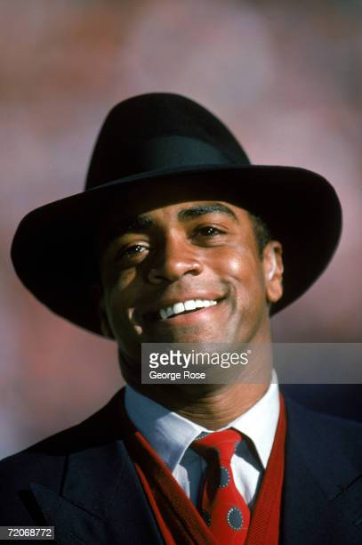 Commentator Ahmad Rashad looks on during the 1987 AFC Championship game with the Cleveland Browns against the Denver Broncos at the Mile High Stadium...