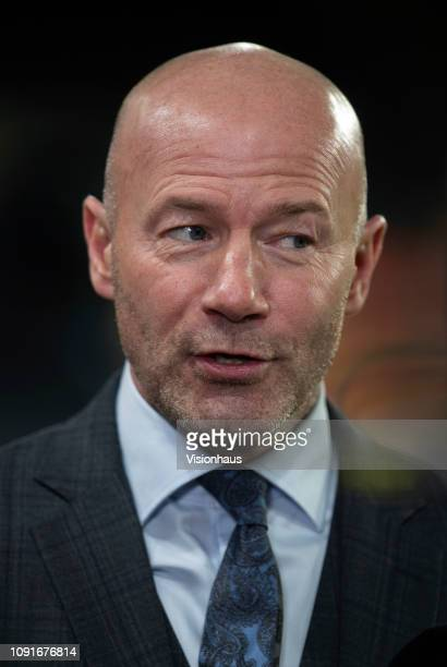 Commentator Alan Shearer chats before the Emirates FA Cup Third Round match between Wolverhampton Wanderers and Liverpool at Molineux on January 7,...