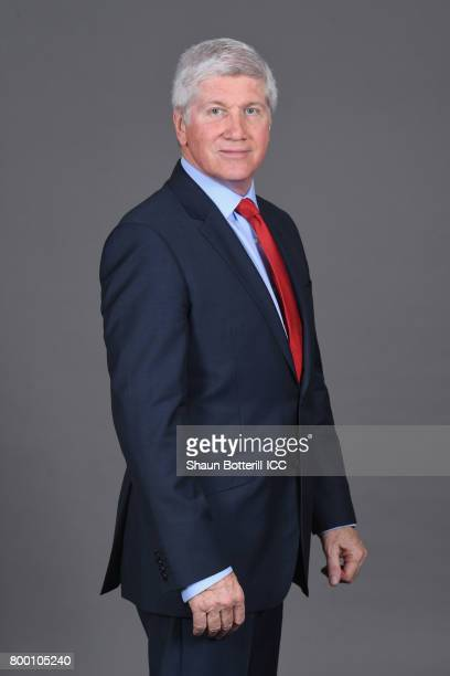 ICC commentator Alan Wilkins poses for a photograph at Derbyshire Couty Cricket Club on June 23 2017 in Derby England