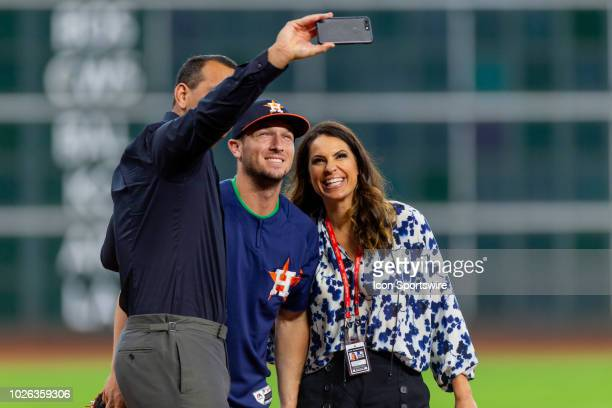 ESPN commentator Alex Rodriquez Houston Astros third baseman Alex Bregman and ESPN commentator Jessica Mendoza take a selfie during an ESPN filming...