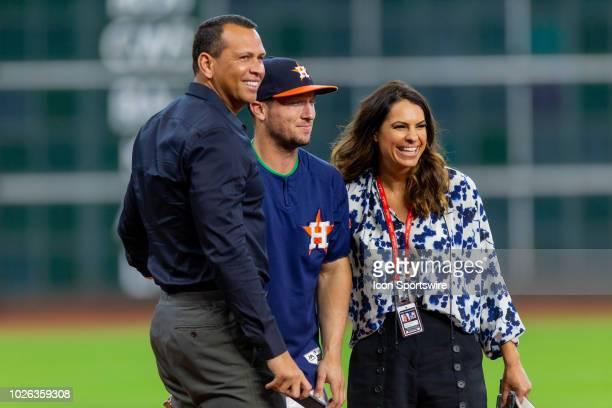 ESPN commentator Alex Rodriquez Houston Astros third baseman Alex Bregman and ESPN commentator Jessica Mendoza pose for a photo during an ESPN...
