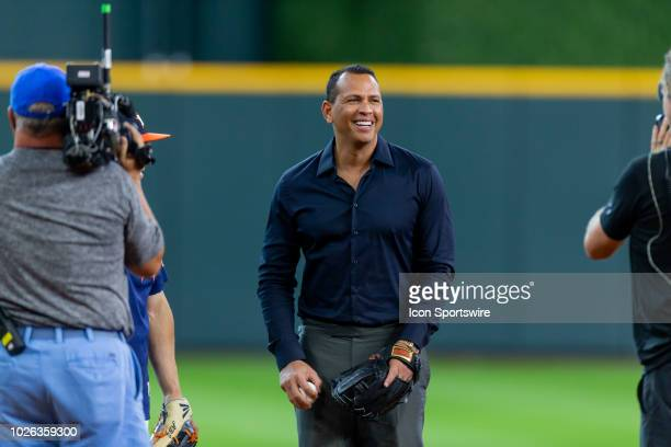 Commentator Alex Rodriquez on the field with Houston Astros third baseman Alex Bregman during an ESPN filming prior to a baseball game between the...