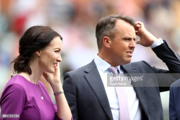 Commentator Alison Mitchell and former England Cricketer Graeme Swann during day one of the Second Test match during the 2017/18 Ashes Series between...