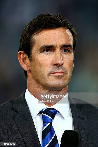 Commentator and former NRL player Andrew Johns looks on during game one of the ARL State of Origin series between the New South Wales Blues and the...