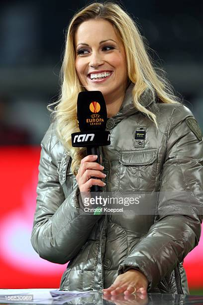 Commentator Andrea Kaiser of ran television channel looks on prior to the UEFA Europa League group C match between Borussia Moenchengladbach and AEL...