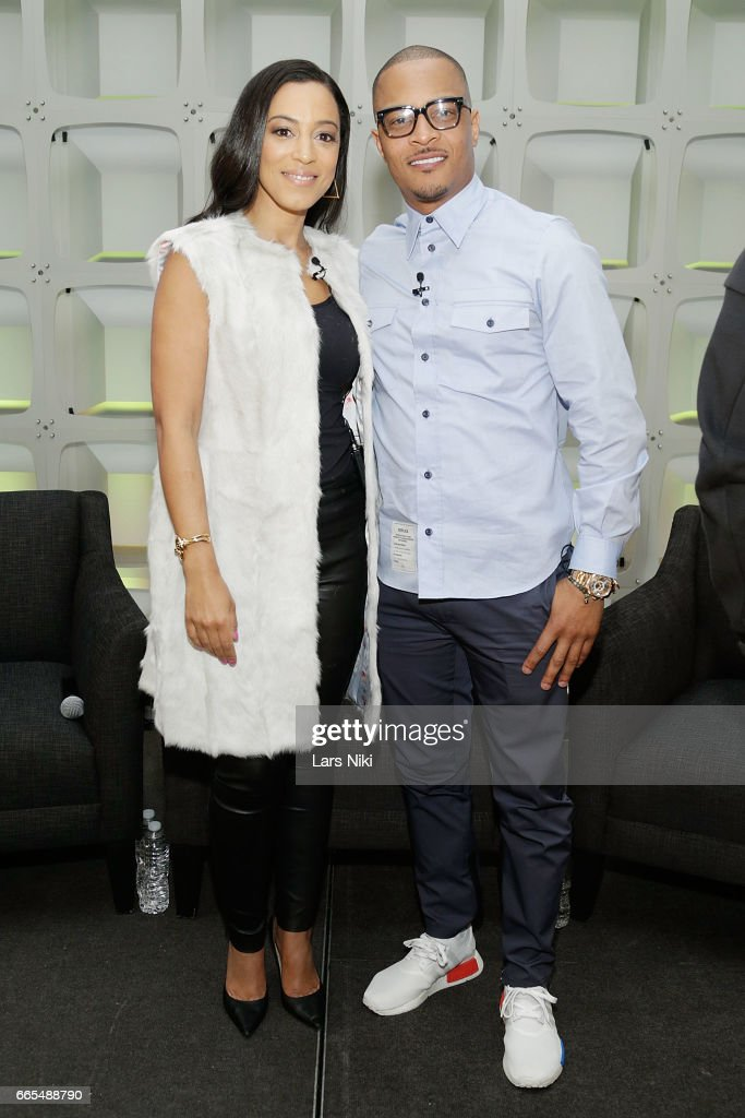 TV Commentator Angela Rye and Musician T.I. attend the BET Music Presents: Us Or Else panel discussion at the Viacom White Box Hall on April 6, 2017 in New York City.