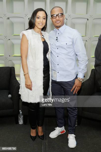 Commentator Angela Rye and Musician TI attend the BET Music Presents Us Or Else panel discussion at the Viacom White Box Hall on April 6 2017 in New...