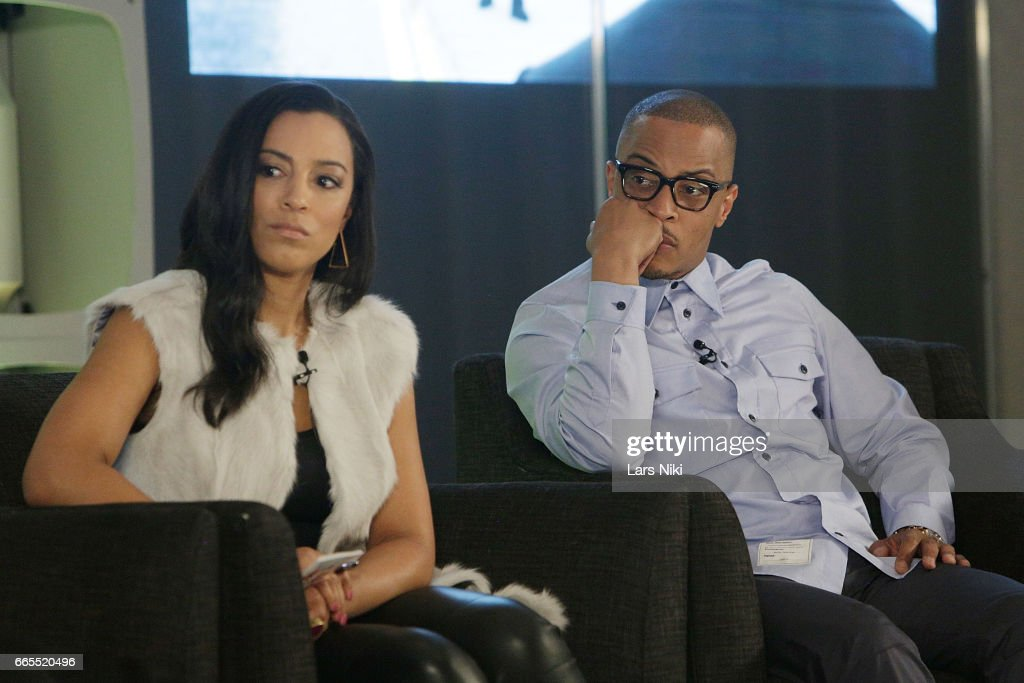 Commentator Angela Rye and Musician T.I. attend the BET Music Presents: Us Or Else panel discussion at the Viacom White Box Hall on April 6, 2017 in New York City.