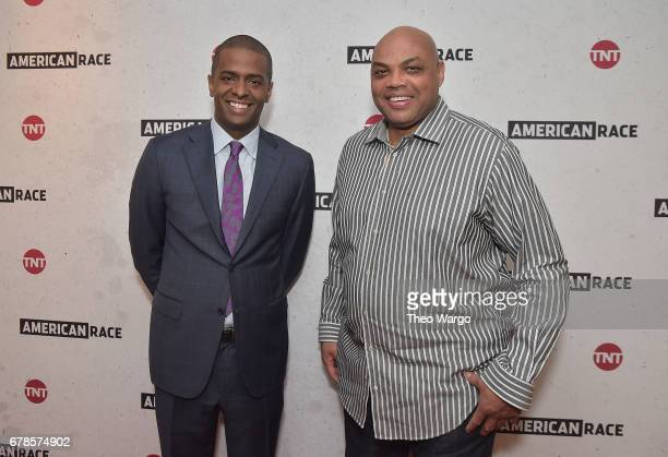 Commentator Bakari Sellers and Host and Executive Producer Charles Barkley attend the American Race Press Luncheon on May 4 2017 at the Paley Center...