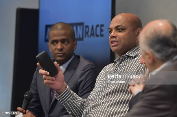Commentator Bakari Sellers and Host and Executive Producer Charles Barkley speak onstage during the American Race Press Luncheon on May 4 2017 at the...