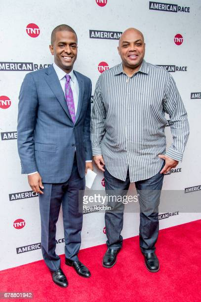 Commentator Bakari Sellers and Host and Executive Producer Charles Barkley attend the American Race Press Luncheon at The Paley Center for Media on...
