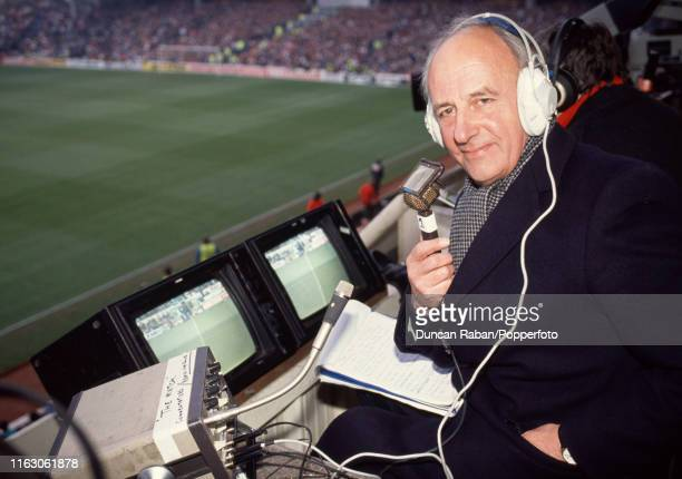 Commentator Brian Moore before a match at Highbury in London, England, circa 1986.